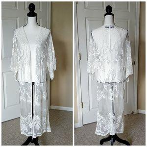 Blue Rain mesh lace open front cardigan sz M
